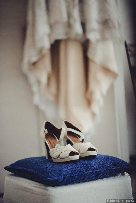 Scarpe da sposa bianche tacco medio aperte