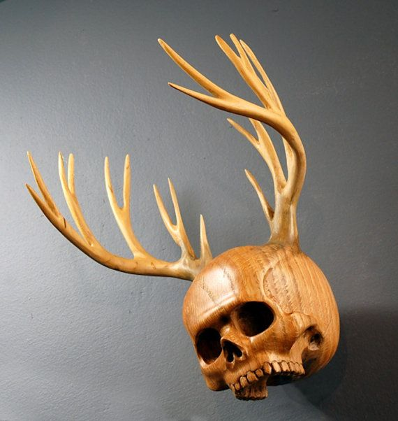 Skull Wood carving and wooden antlers The Woodsman Urn by Jason Tennant.