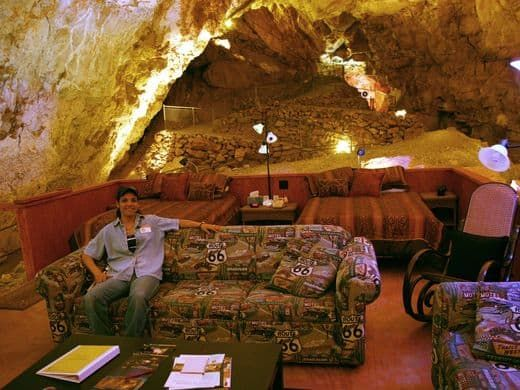 The Cave Room at Grand Canyon Caverns is a comfortable platform suite sitting 220 feet below ground. - photo by Larry Lindahl, via AZCentral (#25 of 30); The Grand Canyon Caverns are located in Peach Springs, Arizona. Guests of the Cavern Suite receive a private tour of Grand Canyon Caverns and a specially prepared dinner and breakfast serve in the suite.