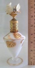 VTG MID CENTURY IRICE PERFUME BOTTLE, HAND PAINTED SATIN GLASS, GOLD ORMOLU