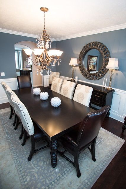 Love blue dining rooms. Sherwin Williams Foggy Day is a nice muted shade.
