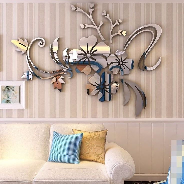 3D Mirror Floar Art Vinyl Removable Wall Sticker Acrylic Decal