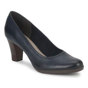 Tamaris Navy Blue Leather Smart Court Shoe Heel Cabin Crew Airline Work Office   eBay