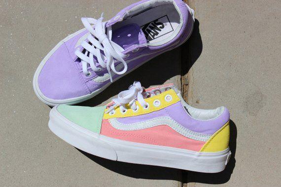Custom Vans Shoe// Pastel Color Way// | Custom vans shoes, Vans ...