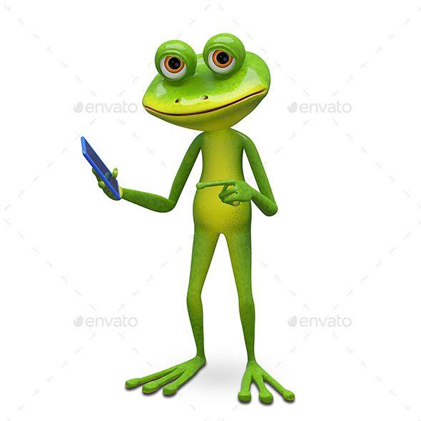 3d Illustration Frog And Smartphone Frog 3d Illustration Illustration