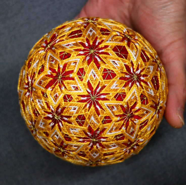 4 Inch Diameter Japanese #Temari Ball (Embroidered Ornamental Ball), Gold, Red Fireworks & Stars Pattern @TheIllustratedEgg
