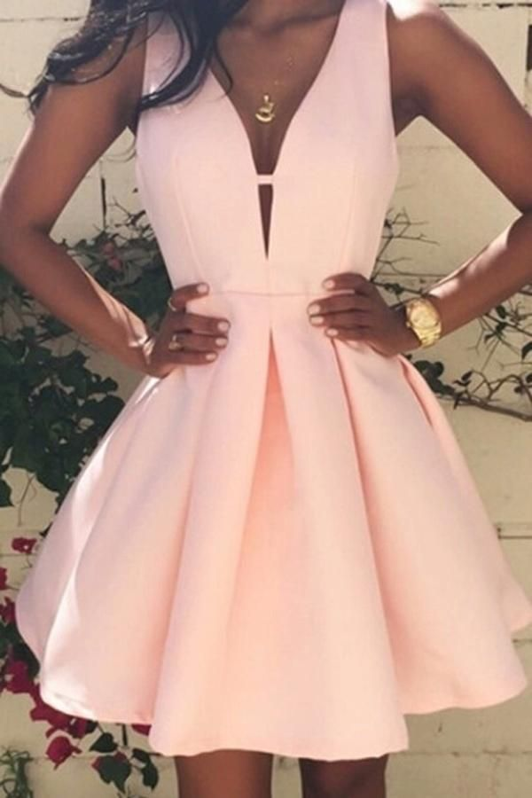 Pink Women Fashion Casual Dress, V-Neck Sleeveless Evening Party Dress, SH236