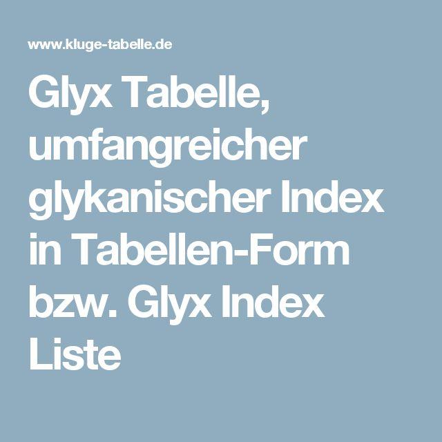 Glyx Tabelle, umfangreicher glykanischer Index in Tabellen-Form bzw. Glyx Index Liste