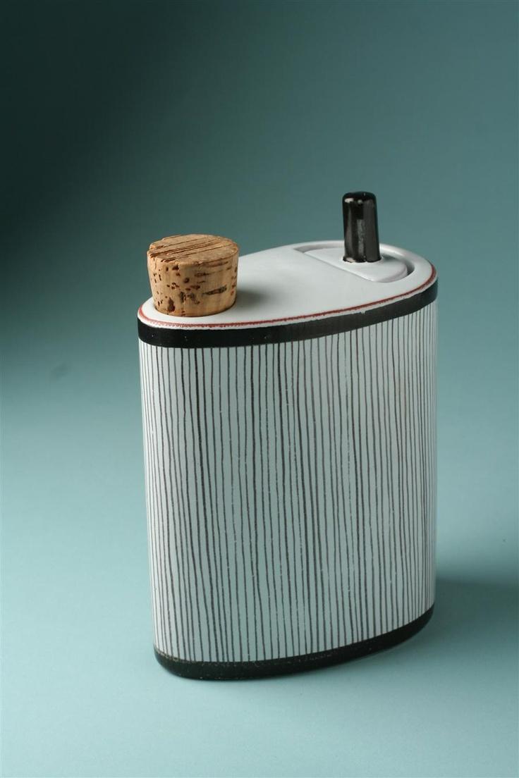 Bottle with scoop, designed by Stig Lindberg for Gustavsberg - Sweden