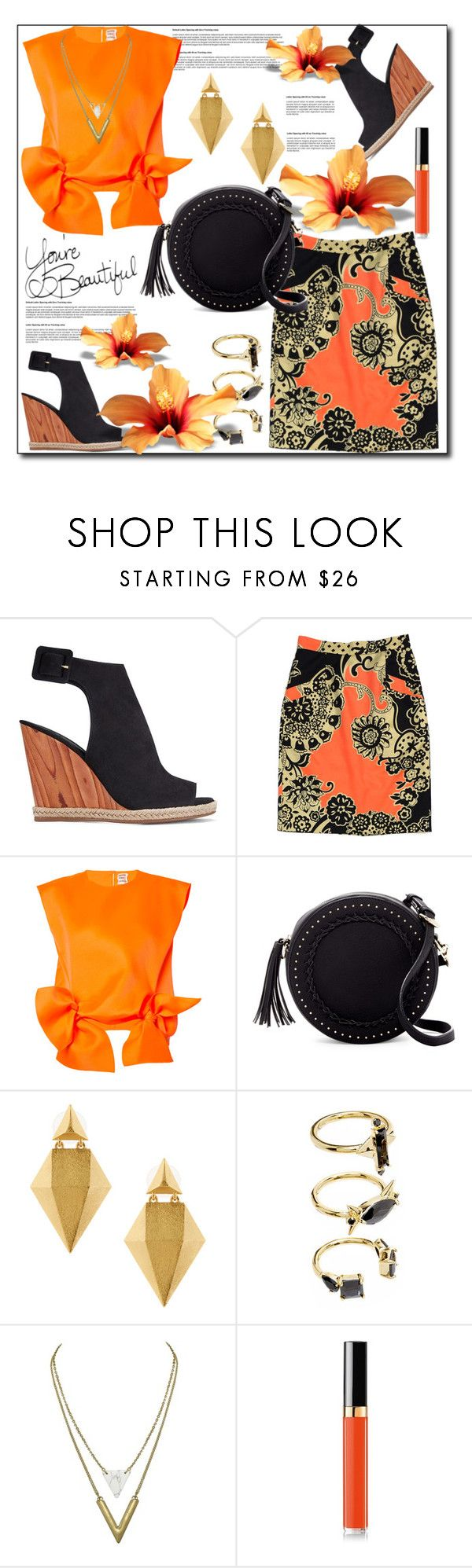 """""""Floral Print Pencil Skirt... Orange Print Skirt & Orange Short Sleeve Top"""" by helenaymangual ❤ liked on Polyvore featuring Tory Burch, TIBI, Maison Rabih Kayrouz, Urban Expressions, Stephanie Kantis, Noir Jewelry and Chanel"""