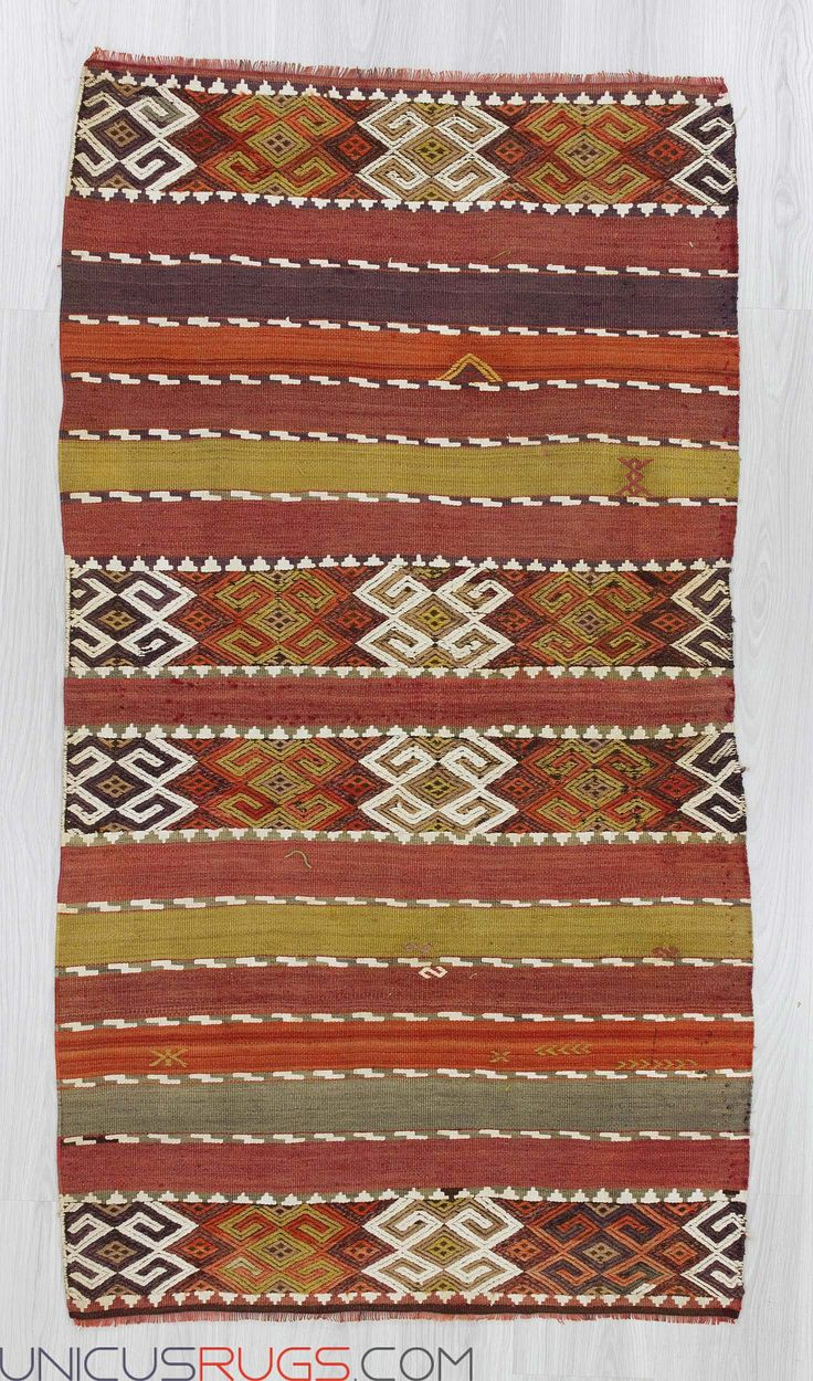 "Handwoven small kilim rug from Malatya region of Turkey.In good condition.Aproximately 65-75 years old Width: 3' 0"" - Length: 5' 7""  Colorful Kilims"