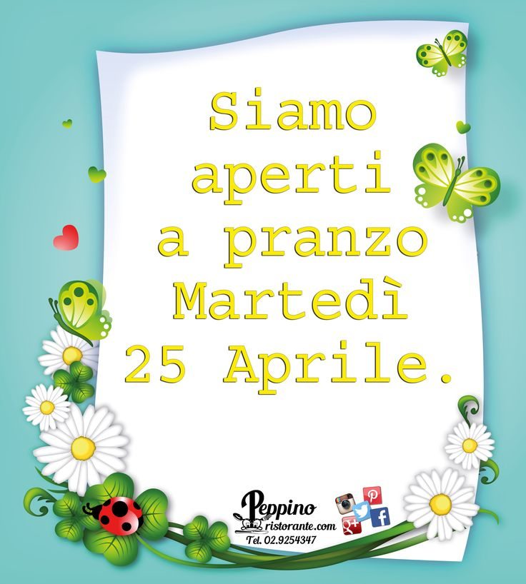 Vi aspettiamo a pranzo Martedì 25 Aprile :) #25aprile #aperto #pranzo #food #saicosamangi #homemadecakes #peppinocarugate #peppinoristorante