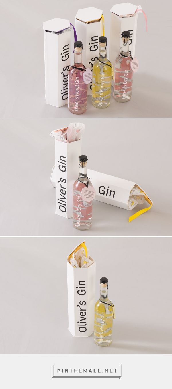 Oliver's Gin Packaging on Behance by Alexandra Oliver curated by Packaging Diva PD. Packaging and collateral for a brand of gin for a university project.