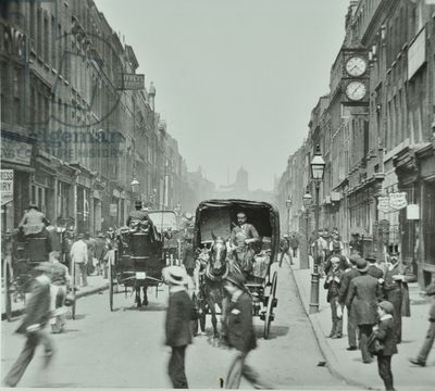 Hatton Garden: looking north from Holborn Circus, London, 1895 (b/w photo)