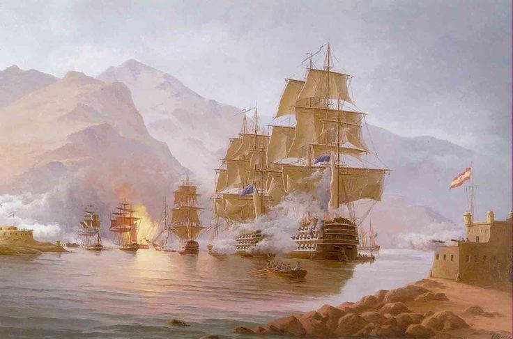 Pintura que recrea la flota de la Armada británica ante las costas de Tenerife. Victoria de las armas españolas frente a una invasión británica con Nelson al mando.