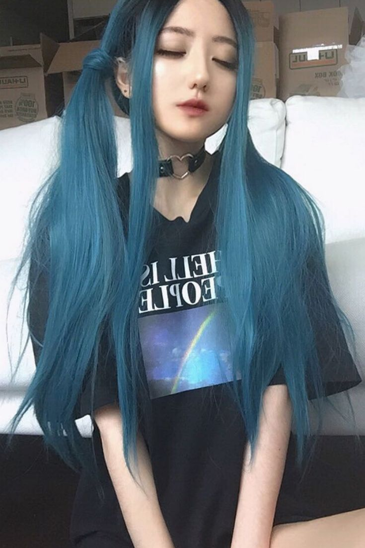 Sea Blue Straight Hair With Black Root Do You Love This Style