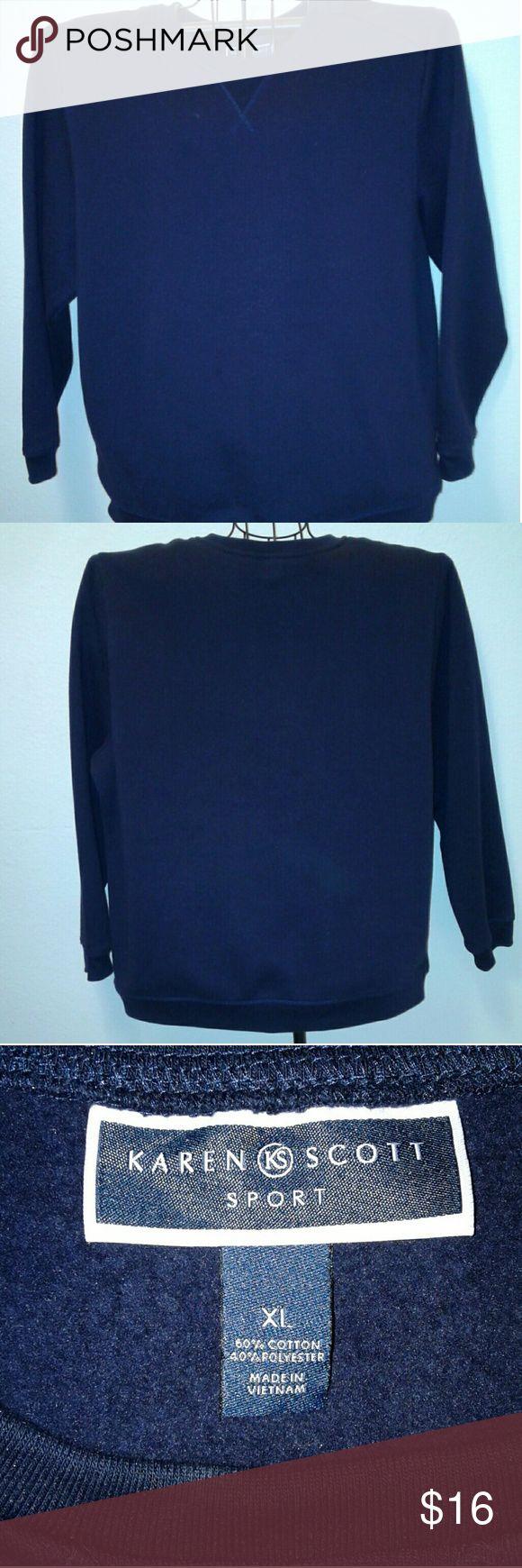 """KAREN SCOTT"" pull over sweat-shirt, XL, navy blue New WithOut Tags, XL, Ladies navy blue pull-over sweat-shirt sweater, crew neck, navy blue, long sleeves, new condition hasn't been worn, no tags, made inVietnam, 60% cotton, 40% polyester, very soft inside. Original retail- $29.00 WPL#8046 Karen Scott Sweaters Crew & Scoop Necks"