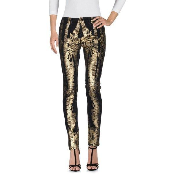 Roberto Cavalli Denim Trousers (495 AUD) ❤ liked on Polyvore featuring pants, black, denim trousers, button pants, slim fit pants, denim pants and slim fit trousers