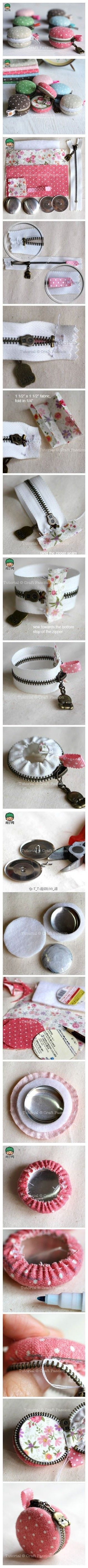 Macaron zippered mini purse tutorial. Good for tiny embroidery patterns/zakka.