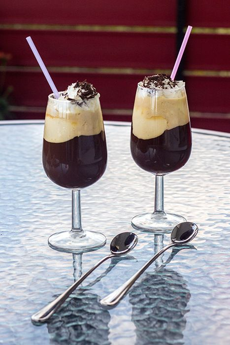 German Iced Coffee (Eiskaffee) - coffee with vanilla ice cream and whipped cream • The Kitchen Maus