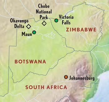 Botswana travel destination information on accommodations, services, itineraries and activities