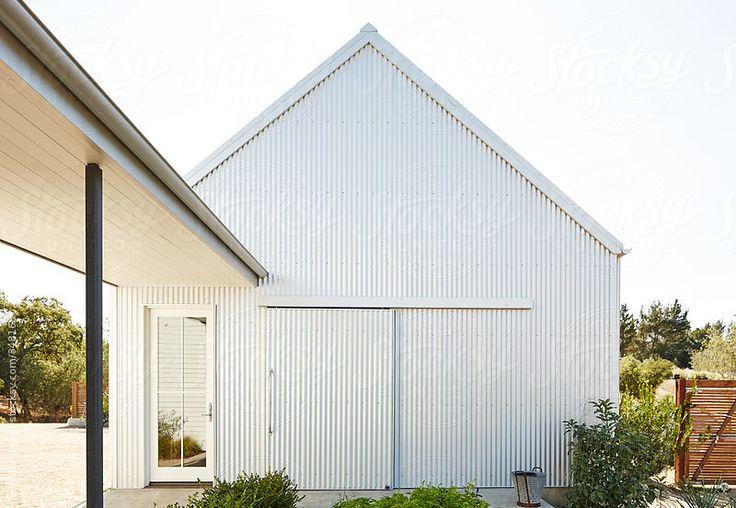 Garage on modern design farmhouse in Sonoma, California  by Trinette Reed