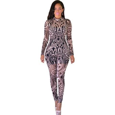 Black Nude Tribal Tattoo Print Sheer Jumpsuit Sale LAVELIQ