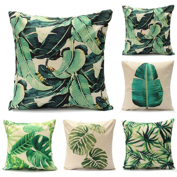 45x45cm Tropical Tree Cotton Linen Cushion Cover Waist Throw Pillow Case Home Car Sofa Bed Decor