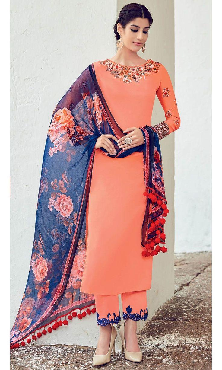 Buy Latest Peach Cotton Satin Suit online at Ishimaya Fashion - SUEJDSKIM6506
