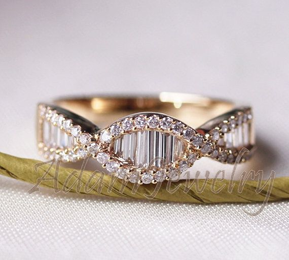 Gorgeous Baguette/Round 1.74ctw Diamonds Ring Solid 14K Yellow Gold Engagement Ring / Wedding Ring/ Half Eternity Band/ Anniversary Ring