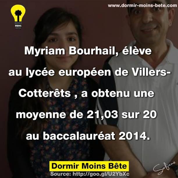 Myriam Bourhail, élève au lycée européen de Villers-Cotterêt, a obtenu une moyenne de 21.03 sur 20 au baccalauréat 2014.