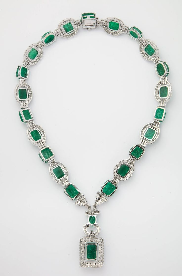 1stdibs Diamond, Emerald 10K Gold Carved Necklace Art Deco