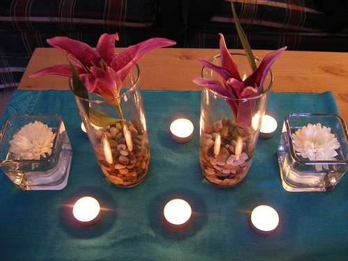 With a pink flower this would be gorgeous, tea lights around them: Pink Flowers