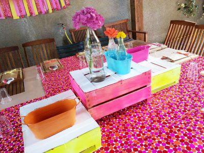 #centrotavola #fluo #orange #arancione #turchese #tourquoise #pink #fucsia #centrotavola #centerpiece #flowers #fiori #tableset #party #festa #barbecue #grigliata