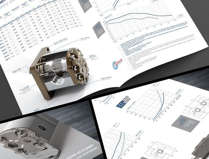 Realizzazione e progettazione di brochure di prodotto due ante per Galtech e Mtc, aziende del gruppo Interpump Hydraulics.