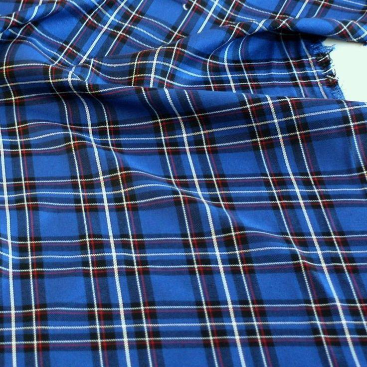 details zu blau schwarzer schotten karo stoff f r tartan kilt jacke hose meterware tolko. Black Bedroom Furniture Sets. Home Design Ideas