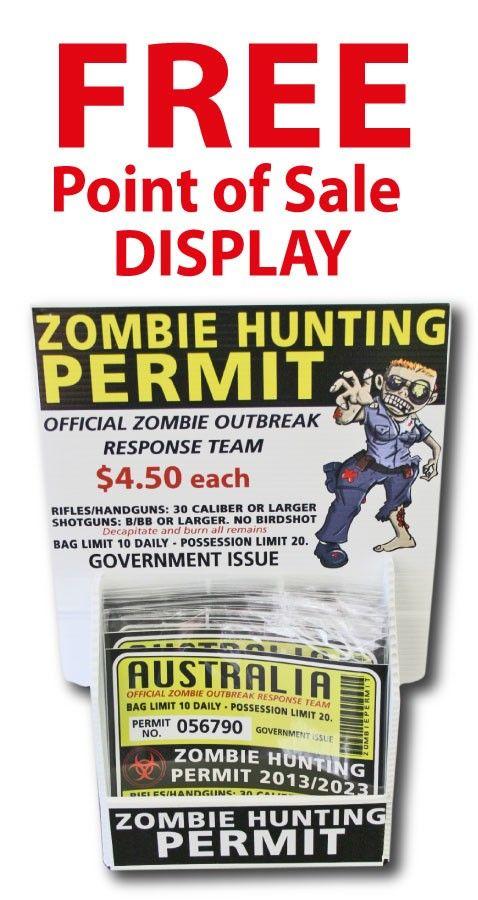 Wholesale Zombie Hunting Permit Sticker - 100 x Stickers $100 (http://www.wholesaleprinters.com.au/zombie-hunting-permit-sticker-funny-bumper-stickers)