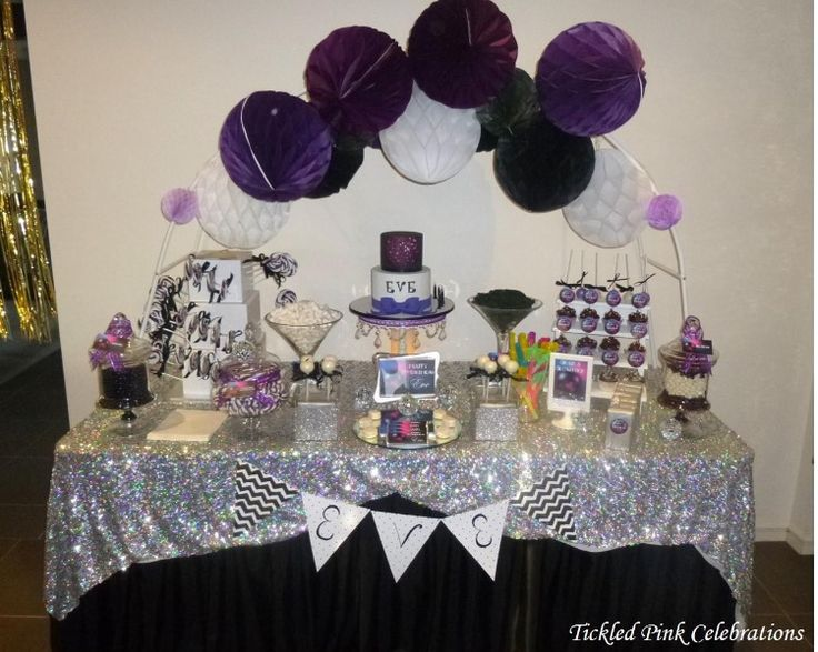 Disco themed purple, black and silver lolly buffet kids party table styled by www.tickledpinkcelebrations.com.au