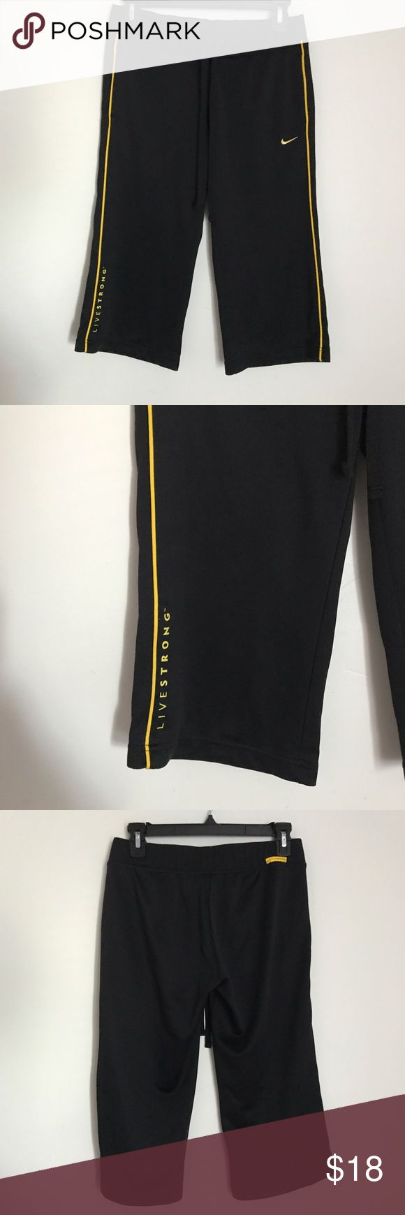 Nike Livestrong Capris Good condition size small black in yellow nike livestrong capris drawstring back upper  have livestrong logo. Nike Pants Capris