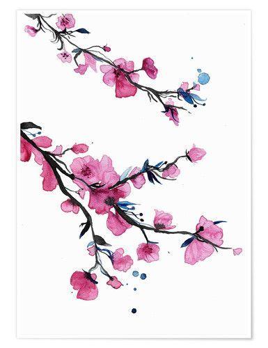 Premium Poster Frühlingsblumen Aquarell