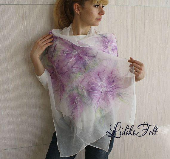 WHITE Nuno Felted Silk Scarf Shawl Wrap LILAC by LidikoFelt