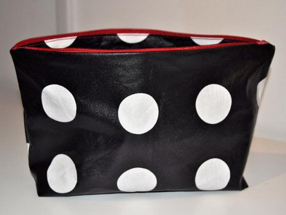 Waterproof black white dotted toiletry bag
