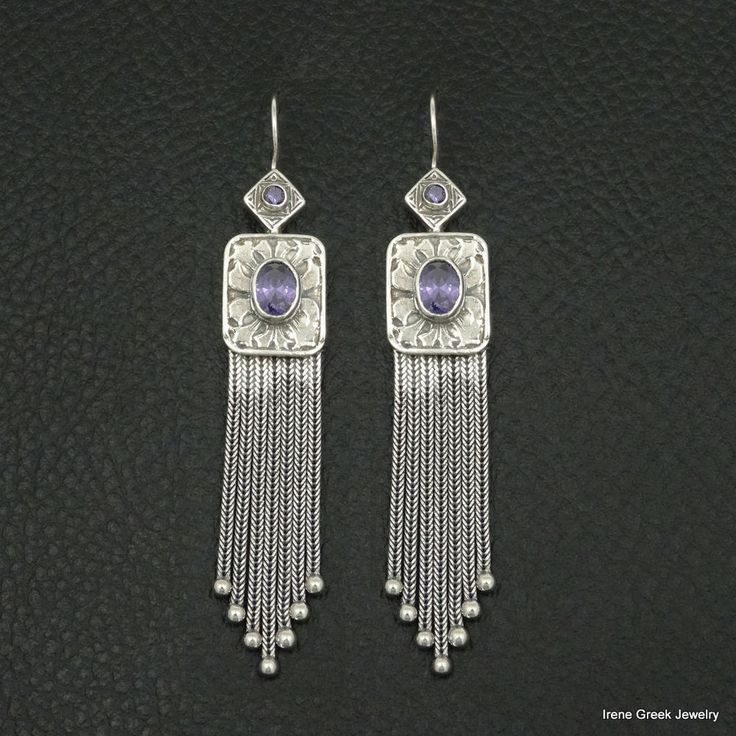 AMETHYST CZ MEDIEVAL STYLE 925 STERLING SILVER GREEK HANDMADE CHAIN EARRINGS #IreneGreekJewelry #ChainLink