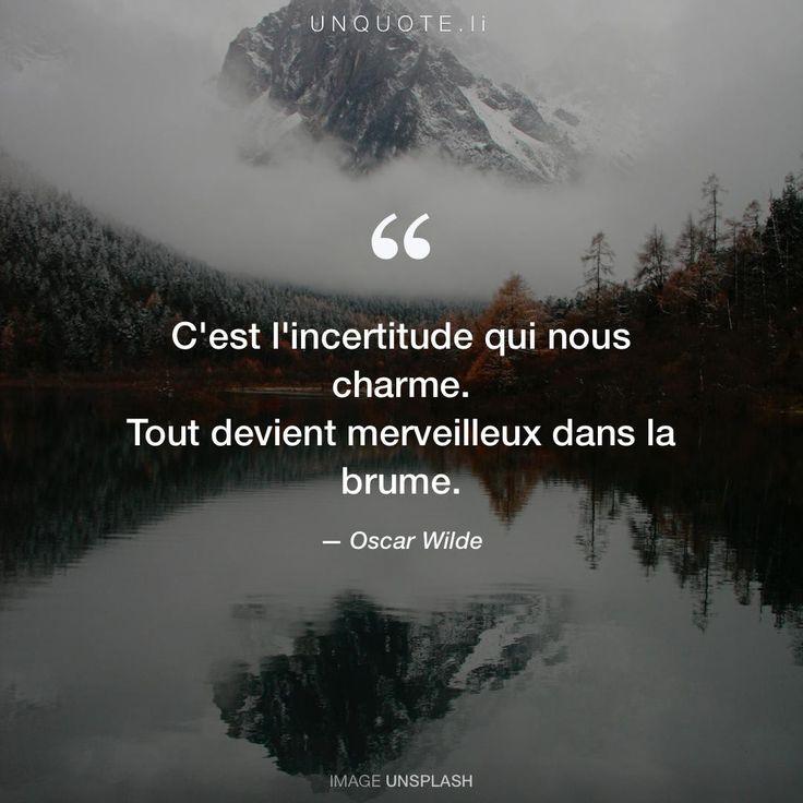 """Oscar Wilde """"C'est l'incertitude qui nous charme. Tout devient merveilleux dans la brume."""" Photo by Arnaud Jaegers / Unsplash"""