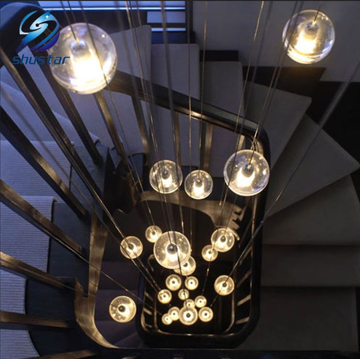 G4 LED Crystal Glass Ball Pendant Lamp Meteor Rain Ceiling Light Meteoric Shower Stair Bar Droplight Chandeliers Lighting