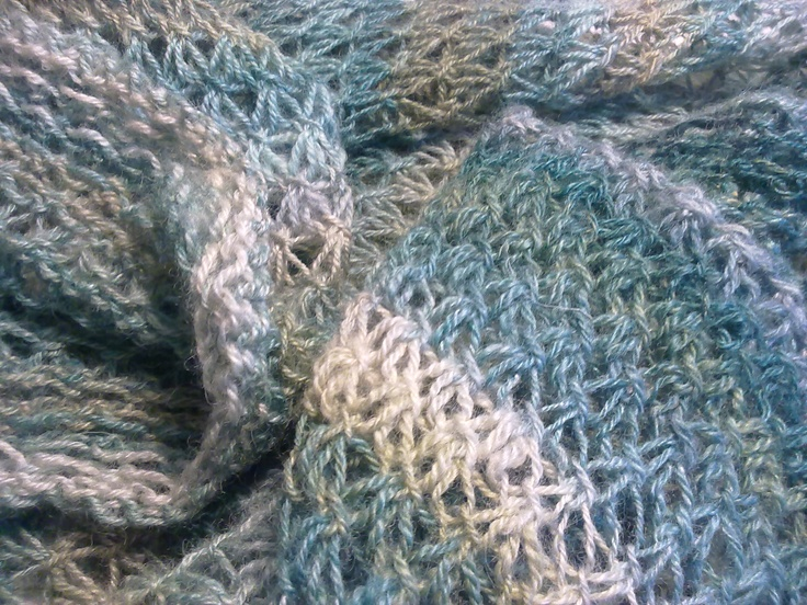Winter Landscape Cowl made with my handspun yarn.