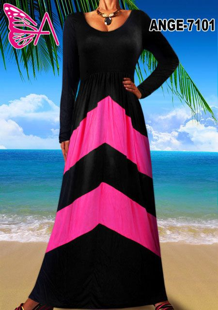 Mijanjou Womens Plus Size Chevron Print Long Sleeve Style Maxi Dress - Black #SteushInc #Maxi #Cocktail
