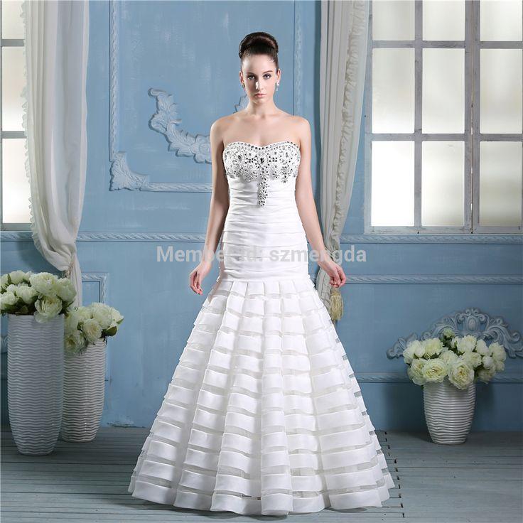 Кристалл бисером труба свадебное платье пышная юбка и возлюбленной декольте нестандартного размера