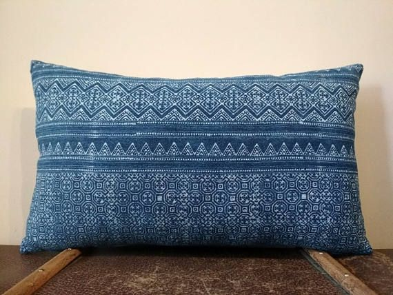 Incredible Hmong Handspun Indigo Batik Pillow Cover, Boho Navy Blue Hand Dyed Cotton Throw Pillow, Hill Tribe Ethnic Lumbar Pillow Case.  This beautiful decorative pillow case is designed using the Thailands Hmong hill tribe handspun cotton batik fabric with a gorgeous tribal traditional design. Crafted from all-natural nice fabric, this cushion cover, hand weaved and naturally indigo dyed, is a real home decor treasure that can add a splash of boho style to any decor. This pillow cover…