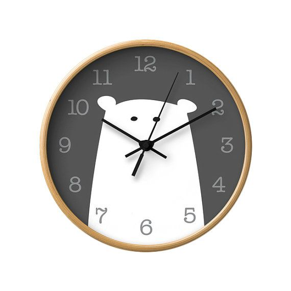 Polar bear nursery wall clock Polar bear wall clock by LatteHome